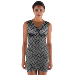 Brick2 Black Marble & Gray Leather (r) Wrap Front Bodycon Dress
