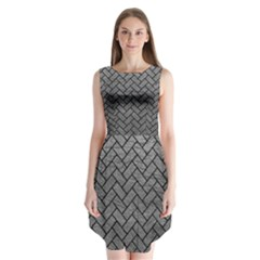 Brick2 Black Marble & Gray Leather (r) Sleeveless Chiffon Dress