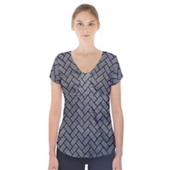 Brick2 Black Marble & Gray Leather (r) Short Sleeve Front Detail Top
