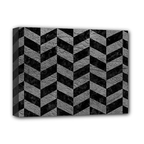 Chevron1 Black Marble & Gray Leather Deluxe Canvas 16  X 12