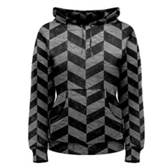 Chevron1 Black Marble & Gray Leather Women s Pullover Hoodie