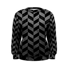 Chevron1 Black Marble & Gray Leather Women s Sweatshirt