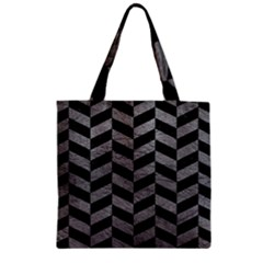 Chevron1 Black Marble & Gray Leather Zipper Grocery Tote Bag