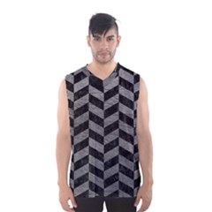 Chevron1 Black Marble & Gray Leather Men s Basketball Tank Top