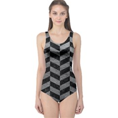 Chevron1 Black Marble & Gray Leather One Piece Swimsuit