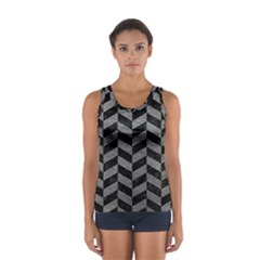 Chevron1 Black Marble & Gray Leather Sport Tank Top