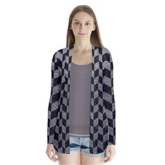 Chevron1 Black Marble & Gray Leather Drape Collar Cardigan