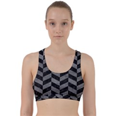 Chevron1 Black Marble & Gray Leather Back Weave Sports Bra