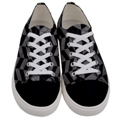 Chevron1 Black Marble & Gray Leather Women s Low Top Canvas Sneakers