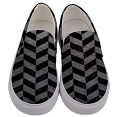 Chevron1 Black Marble & Gray Leather Men s Canvas Slip Ons