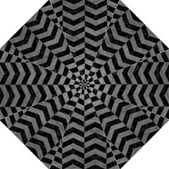 Chevron2 Black Marble & Gray Leather Golf Umbrellas