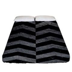 Chevron2 Black Marble & Gray Leather Fitted Sheet (king Size)