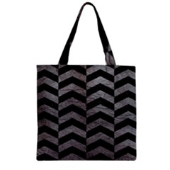 Chevron2 Black Marble & Gray Leather Zipper Grocery Tote Bag