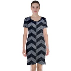 Chevron2 Black Marble & Gray Leather Short Sleeve Nightdress