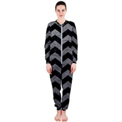 Chevron2 Black Marble & Gray Leather Onepiece Jumpsuit (ladies)