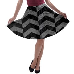 Chevron2 Black Marble & Gray Leather A Line Skater Skirt