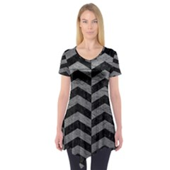 Chevron2 Black Marble & Gray Leather Short Sleeve Tunic