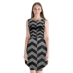Chevron2 Black Marble & Gray Leather Sleeveless Chiffon Dress