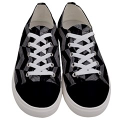 Chevron2 Black Marble & Gray Leather Women s Low Top Canvas Sneakers