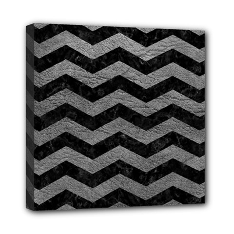 Chevron3 Black Marble & Gray Leather Mini Canvas 8  X 8