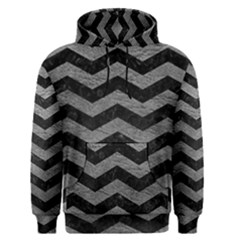 Chevron3 Black Marble & Gray Leather Men s Pullover Hoodie