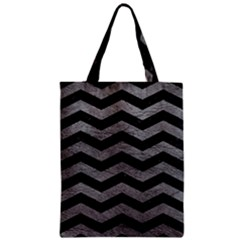 Chevron3 Black Marble & Gray Leather Zipper Classic Tote Bag