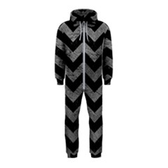 Chevron3 Black Marble & Gray Leather Hooded Jumpsuit (kids)