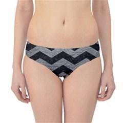Chevron3 Black Marble & Gray Leather Hipster Bikini Bottoms