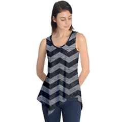 Chevron3 Black Marble & Gray Leather Sleeveless Tunic