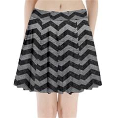 Chevron3 Black Marble & Gray Leather Pleated Mini Skirt