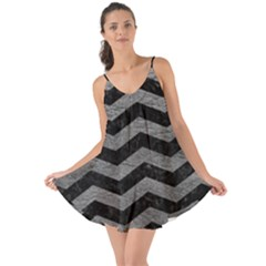 Chevron3 Black Marble & Gray Leather Love The Sun Cover Up
