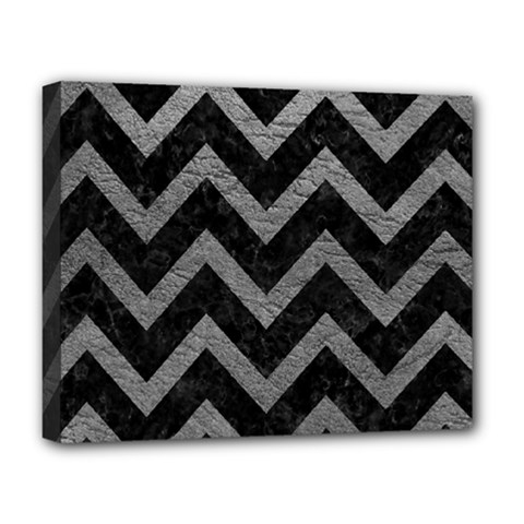 Chevron9 Black Marble & Gray Leather Deluxe Canvas 20  X 16