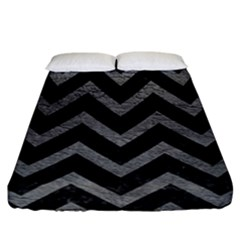 Chevron9 Black Marble & Gray Leather Fitted Sheet (california King Size)