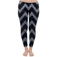 Chevron9 Black Marble & Gray Leather Classic Winter Leggings