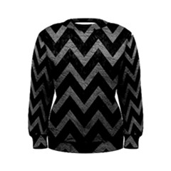 Chevron9 Black Marble & Gray Leather Women s Sweatshirt