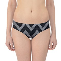 Chevron9 Black Marble & Gray Leather Hipster Bikini Bottoms