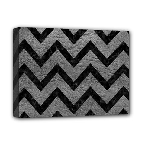 Chevron9 Black Marble & Gray Leather (r) Deluxe Canvas 16  X 12