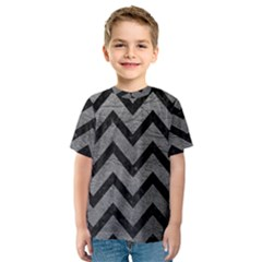 Chevron9 Black Marble & Gray Leather (r) Kids  Sport Mesh Tee
