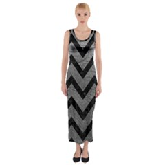 Chevron9 Black Marble & Gray Leather (r) Fitted Maxi Dress