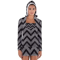 Chevron9 Black Marble & Gray Leather (r) Long Sleeve Hooded T Shirt
