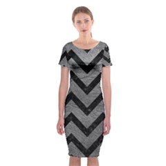 Chevron9 Black Marble & Gray Leather (r) Classic Short Sleeve Midi Dress