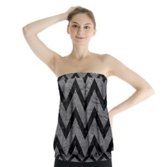 Chevron9 Black Marble & Gray Leather (r) Strapless Top