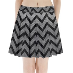Chevron9 Black Marble & Gray Leather (r) Pleated Mini Skirt
