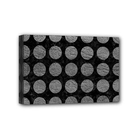 Circles1 Black Marble & Gray Leather Mini Canvas 6  X 4