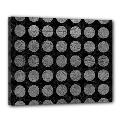 Circles1 Black Marble & Gray Leather Canvas 20  X 16