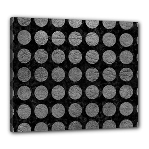 Circles1 Black Marble & Gray Leather Canvas 24  X 20