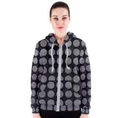 Circles1 Black Marble & Gray Leather Women s Zipper Hoodie