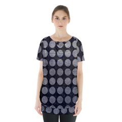 Circles1 Black Marble & Gray Leather Skirt Hem Sports Top