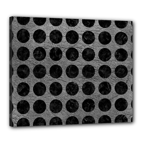 Circles1 Black Marble & Gray Leather (r) Canvas 24  X 20