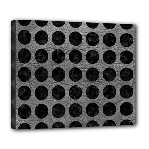 Circles1 Black Marble & Gray Leather (r) Deluxe Canvas 24  X 20